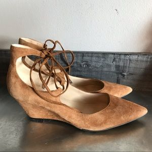 Marc Fisher tan suede pointed toe wedge  lace up